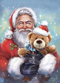 Father Christmas and his teddy bear Christmas Scenes, Father Christmas, Santa Christmas, Christmas Pictures, All Things Christmas, Vintage Christmas, Christmas Time, Christmas Crafts, Cheap Christmas