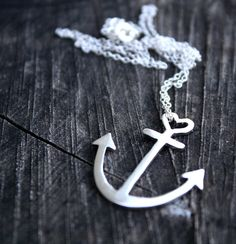 anchor necklace sterling silver anchor pendant with heart detail delicate nautical jewelry. $50.00, via Etsy.