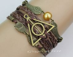 harry potter bracelet, Infinity bracelet, owl wing bracelet, gold bead bracelet, gift for girl friend,boy friend.-z189