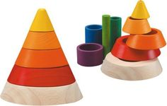 Plan Toys Cone Sorting by Plan Toys. $18.80. From the Manufacturer                Plan Toy Cone Sorting inspires imagination as well as promotes children's physical and intellectual development along with being socially and environmentally responsible and maintaining good values. This toy is made from all natural organic recycled rubber wood and colored with water based dyes.                                    Product Description                531301 Features: -Con...