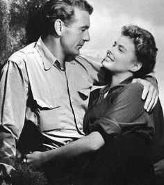 """Gary Cooper and Ingrid Bergman in """"For Whom the Bell Tolls"""", (1943).Love this movie & Gary Cooper and Ingrid Bergman were great together in it."""