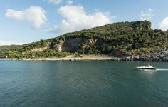 Exploring Portovenere's beautiful landscape from the sea. Liguria, Italy