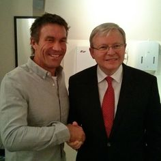 Pat Cash with Australian Prime Minister Kevin Rudd. Pat Cash, Prime Minister, Tennis, Guys, Sons, Boys