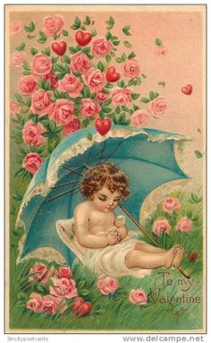 Vintage Child Umbrella Roses Valentine Graphic Image Art Fabric Block Doodaba 4 x 6 My Sweet Valentine, Valentine Cupid, Valentine Images, Vintage Valentine Cards, Vintage Greeting Cards, Vintage Ephemera, Vintage Holiday, Vintage Postcards, Images Vintage