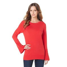 DG2 by Diane Gilman Flared Sleeve Sweater with Pocket