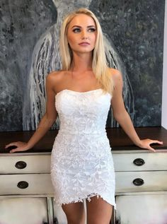 Boho Prom Dresses, Strapless Short Lace White Homecoming Dress with Appliques, you be the star of your own prom by offering you hundreds of options for your perfect 2020 prom dress! Backless Homecoming Dresses, Hoco Dresses, Evening Dresses, Dress Prom, Wedding Dresses, Formal Dresses, Yellow Lace, White Lace, Luis Pasteur