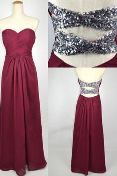 Simple Dress Elegant Sweetheart Burgundy Long Chiffon Prom Dresses/Bridesmaid Dresses/Party Dresses  CHPD-7184