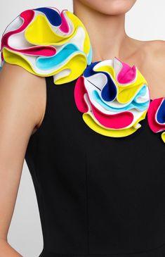 Asymmetric one-shoulder stretchy cotton dress. Decorative multi-color cotton trim. Without pockets and unlined.