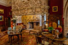 The Drawing Room at Cragside in Cartington, Northumberland, England. The oversized fireplace was carved from 10 tons of Italian marble and the room was completed for a royal visit by the Prince and Princess of Wales (later Edward VII and Queen Alexandra) in 1884