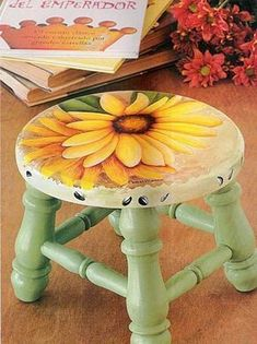 Best Diy Painted Chair Designs Ideas (For Your Inspiration) - Diyandart Hand Painted Chairs, Painted Stools, Funky Painted Furniture, Decoupage Furniture, Chalk Paint Furniture, Refurbished Furniture, Art Furniture, Rustic Furniture, Furniture Design