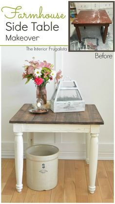 A thrift store Farmhouse Side Table Makeover Before and After |The Interior Frugalista