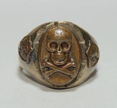 Vintage Mexican Biker Ring, Skull & Crossbones, 40's 50's, Sz 11, Motorcycle, #artistmade #biker