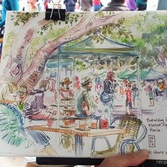 The Saturday morning market in Haria. Great for watching the world go by with a coffee and a sketchbook! #urbansketchers #usk #sketchbook #derwentpencils #drawing #everydaymatters #draw #colour #pleinair #people #Lanzarote