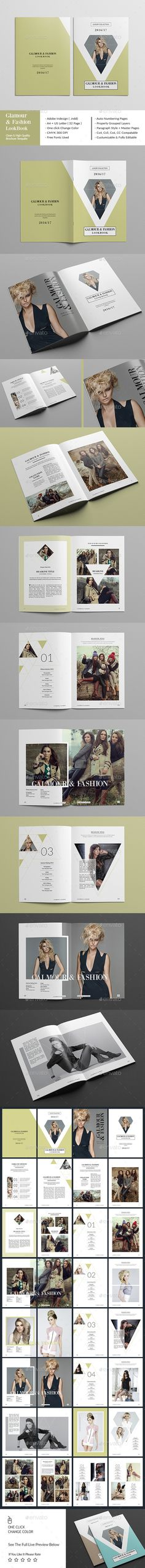 Glamour & Fashion Look Book 32 Pages Template InDesign INDD #design Download: http://graphicriver.net/item/glamour-fashion-look-book-32-page/14445241?ref=ksioks