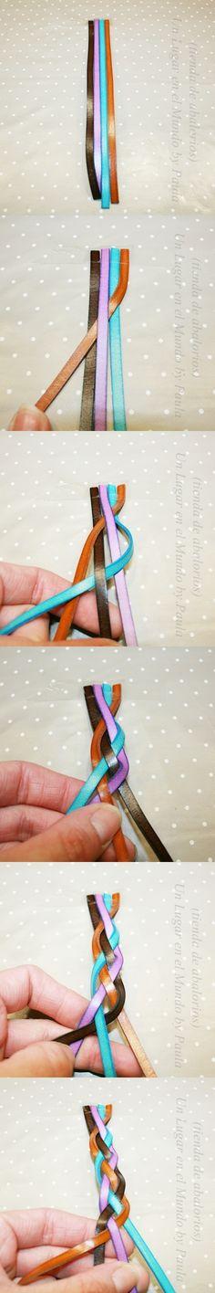 Como hacer una trenza de 4 tiras.  Materiales: www.unlugarenelmundobypaula.com