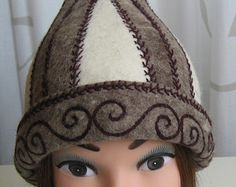 Unique Handmade felted hat. Asian hat (natural colors)