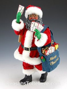 african american mrs. claus figurine | Black Mailman Santa | Santa Claus Figurines and Hand Carved Wooden ...