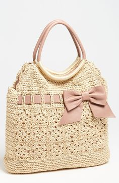 Red Valentino: Crochet Rafia Tote With Leather Bow Trim. http://media-cache-ak0.pinimg.com/originals/cf/91/d6/cf91d63855eb8215e778b9c19ad71b17.jpg http://media-cache-ec0.pinimg.com/originals/c6/40/8a/c6408a541987b0f23e3886c93c866d1b.jpg http://media-cache-ec0.pinimg.com/originals/dd/a7/c4/dda7c46d84124bc92c79bb3dd9bf4db1.jpg http://media-cache-ec0.pinimg.com/originals/44/0d/a6/440da66195dbdb7e96d6100a0b8db3fd.jpg