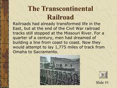 Bobby Caples - Transcontinental Railroad by Bobby Caples via slideshare
