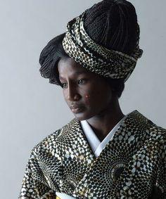 African-print kimono by Serge Mouangue