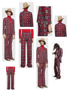 """""""Gucci floral check print suit"""" by krisz-kn ❤ liked on Polyvore featuring Gucci, men's fashion and menswear"""