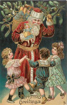 CHRISTMAS GREETINGS  three children dance round Santa carrying toys, mistletoe above