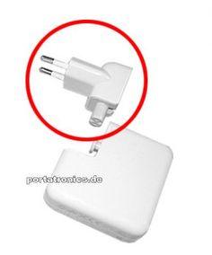 EU Netzteil-Stecker /-Adapter für iPod, iPhone, iPad  Das von Apple konzipierte Universalladegerät zum Laden von MacBooks  ist für jeden in der Welt handelsüblichen Stecker Adapter kompatibel. Hier handelt es sich um den in Europa  kompatiblen Stecker für das Netzteil des MacBook aber auch des älteren iPod oder neueren iPad  Ladegerät