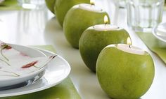 maçã com velas
