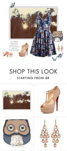 """""""Last of the summer sun"""" by highly-fashionable-shark ❤ liked on Polyvore featuring Pottery Barn, Christian Louboutin, Accessorize, Carolee, floralprint, christianlouboutin, chandelierearrings, notgreatcroppingbutohwell and rosetonegold"""