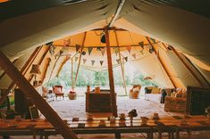 A tipi in the garden? awesome! A 1960's Inspired Gown And Pretty Flower Crown For A Home Garden, Vintage Style Wedding