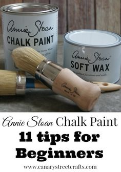 Annie Sloan chalk paint tips for beginners. Tips and inside tricks for learning to use Annie Sloan chalk paint. Where to buy Annie Sloan chalk paint. Annie Sloan Chalk Paint Tips, Annie Sloan Paints, Annie Sloan Painted Furniture, Chalk Paint Wax, Painting With Chalk Paint, Chalk Paint Colors Furniture, Chalk Paint Brushes, Annie Sloan Wax, White Chalk Paint
