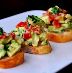 guacamole bruschettas , quick and easy vegetarian recipes