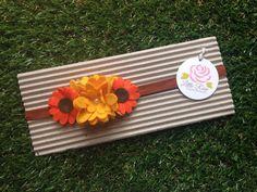 Fascia elastica per capelli a girasole primaverale in tono giallo e arancione, by Romanticards e Little Rose Handmade, 6,00 € su misshobby.com