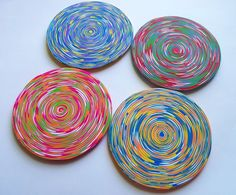 Colorful Coasters polymer clay  set of 4 by FlowertownOriginals, $28.00
