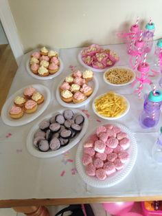 Pink and white themed cakes