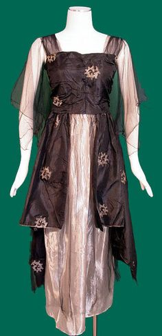 Black and pink silk satin evening gown with chiffon sleeves, circa 1916-17