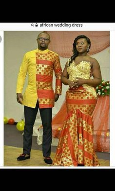 pictures of african traditional wedding dresses Couples African Outfits, African Clothing For Men, African Shirts, African Dresses For Women, African Print Dresses, Couple Outfits, African Print Fashion, African Women, African Wedding Attire