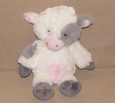 "Animal Adventure White Gray Cow Bull Plush Stuffed Animal 11"" Toy Pink Tummy #AnimalAdventure"