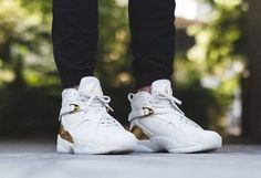 "On foot look at the Jordan 8 ""Champagne"" / ""Trophy"". Available at kickbackzny.com."