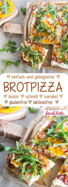 Brotpizza mit Kürbis | super lecker! für Backanfänger geeignet { glutenfrei | laktosefrei | eifrei und unendlich variabel #kürbis #pizza #brotpizza #glutenfrei #laktosefrei
