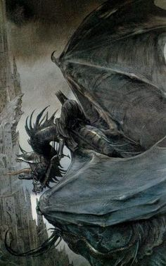 Wraiths on wings!  Prof. Tolkien; artist John Howe
