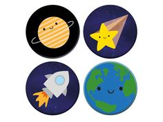 Kawaii Planets in Space - Solar System Badge SetA cute set of 4 badges with a solar systemThe latest kawaii stationery and accessories added to the Asking For Trouble shop Space Solar System, Space Character, Closer To The Sun, Dwarf Planet, Pick And Mix, Kawaii Stationery, Badge Design, No Plastic, Button Badge