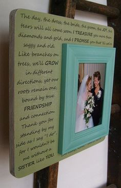 SISTER of the Bride Gift 13 x13 Wedding by DellaLucilleDesigns, $55.00