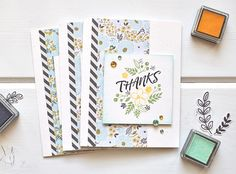 Thanks card set by Kimberly Crawford for We R Memory Keepers featuring the Precision Press.