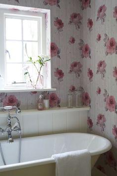 Gorgeous rose wood paneling effect wallpaper design.