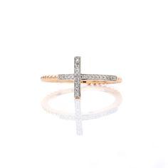 Sideways Diamond Cross Ring in Gold, Rose Gold, or White Gold #Rose #White #Gold #Ring #Cross #Trend