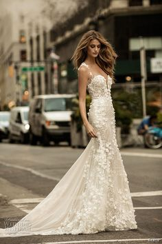 berta fall 2017 bridal sleeveless with strap plunging sweetheart neckline full embellishment romantic elegant sheath wedding dress chapel train (014) mv