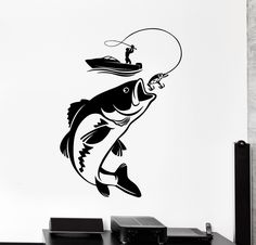 Our vinyl stickers are unique and one of a kind! Every sticker we sell is made per order and cut in house! We make our wall decals using superior quality interior and exterior glossy, removable vinyl Boat Stickers, Fish Silhouette, Leather Tooling Patterns, Make A Boat, Fish Drawings, Fishing Boats, Vinyl Wall Decals, Rock Art, Stencils