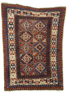"Antique Moghan Caucasian Tribal Rug 4'x5'6"""