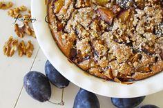 Slivkový koláč s orechmi - Plum Pie With Nuts Plum Pie, French Toast, Pork, Meat, Breakfast, Desserts, Cakes, Kale Stir Fry, Morning Coffee